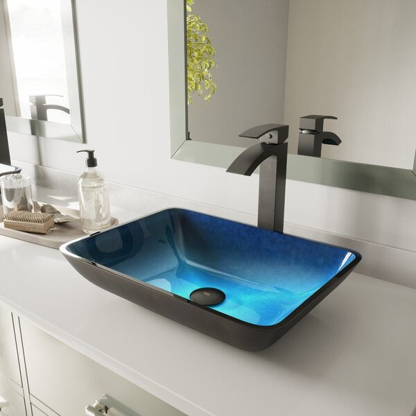 Water Tempered Glass Rectangular Vessel Bathroom S