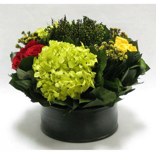 Mixed Floral Centerpiece in Wooden Short Round Container by Canora Grey