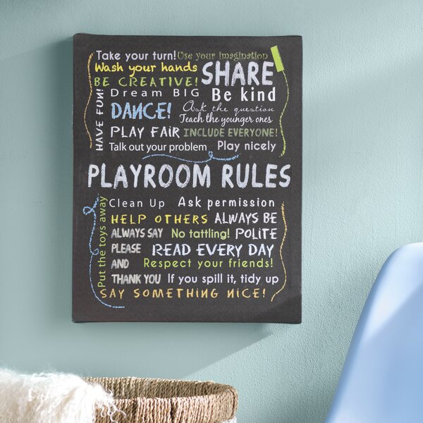 Genesis and Colored Playroom Rules Textual Art on Canvas by Viv + Rae