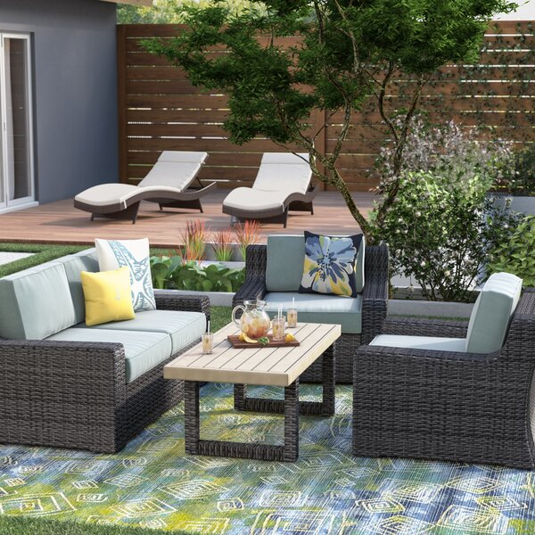 Linwood 4 Piece Sofa Seating Group with Cushions by Beachcrest Home