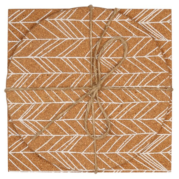 2 Piece Feathered Chevron Cork Trivet Set by Union Rustic