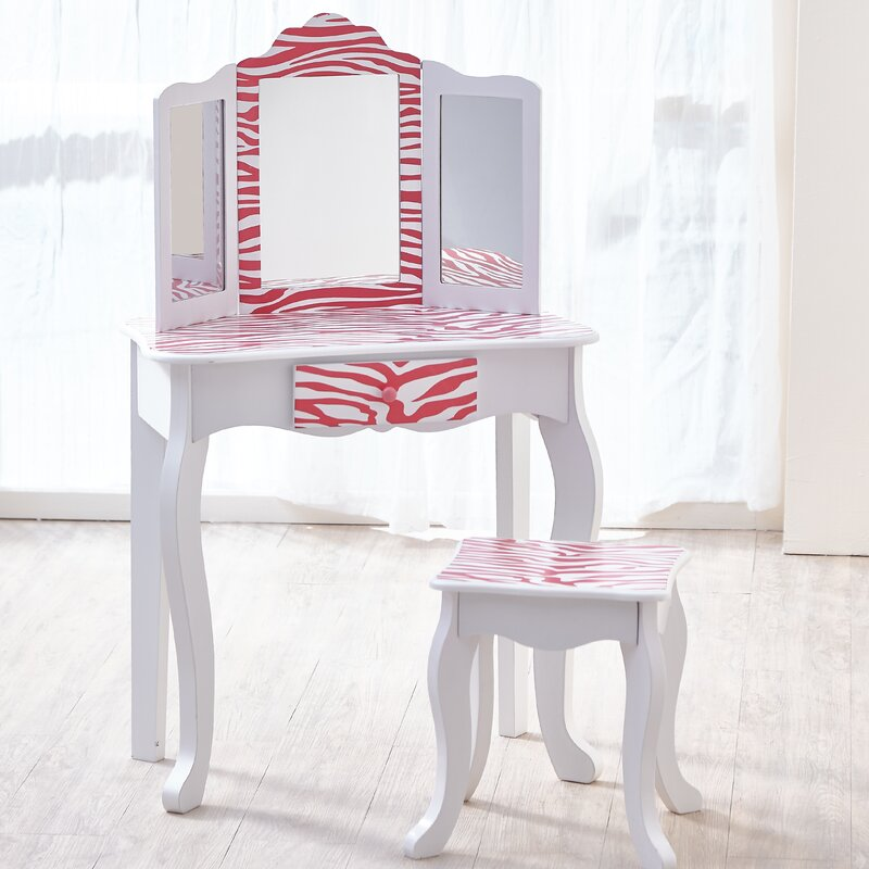 Gisele Vanity Table And Stool Set With Mirror