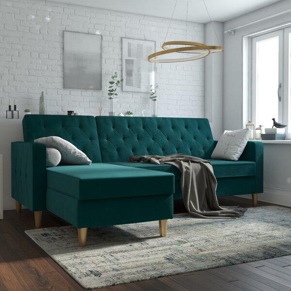Emerald Green Velvet Sectional | Wayfair