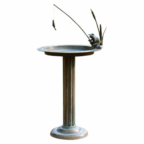 Fishing Frog Birdbath by SPI Home