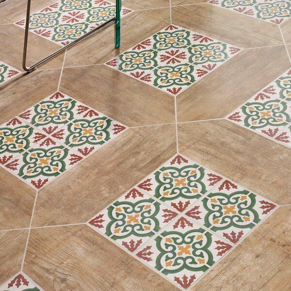 Cementa 7 x 7 Ceramic Tile in Gold/Green/Burgundy/White by EliteTile