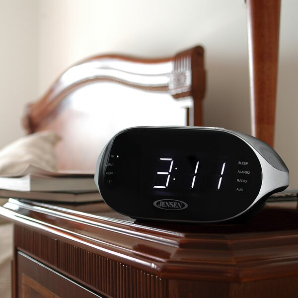 Digital AM/FM Dual Radio with Bluetooth Tabletop Clock by Jensen