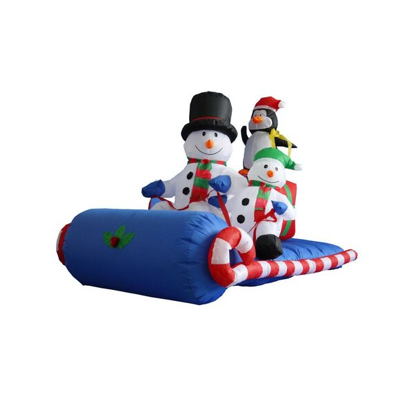 6 ft. Long Snowmen Family on Sleigh Decoration by