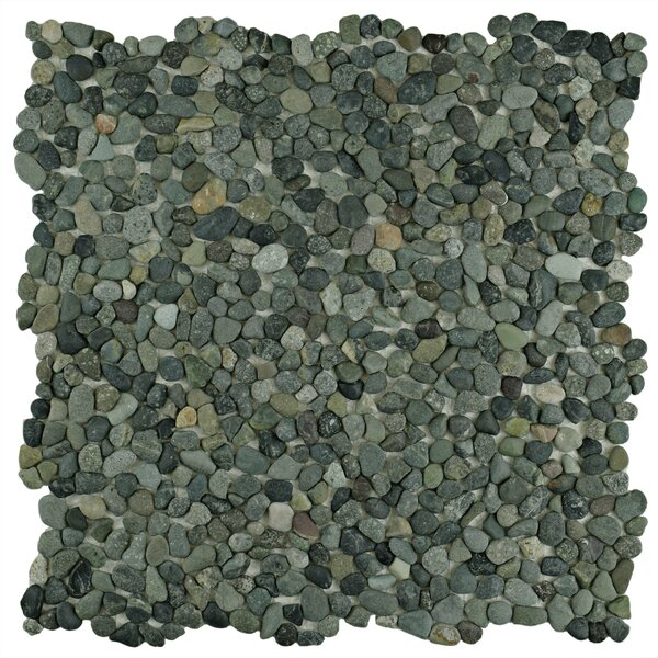 Kamyk 12.25 x 12.25 Pebble Stone Mosaic Tile in Green by EliteTile