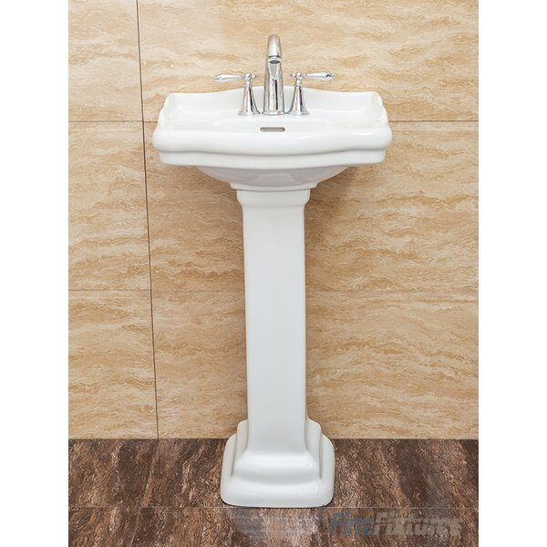Roosevelt Vitreous China 19 Pedestal Bathroom Sink with Overflow by Fine Fixtures