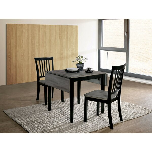 Maone Transitional 3 Piece Drop Leaf Solid Wood Dining Set by Millwood Pines