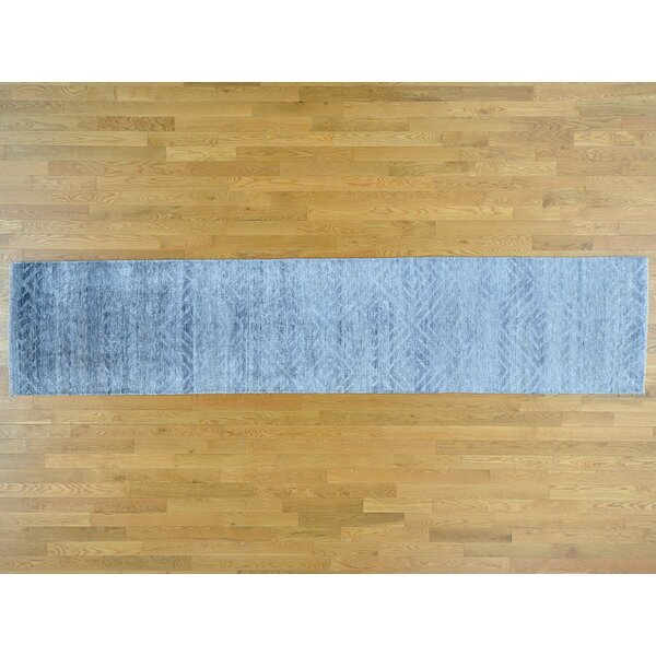 One-of-a-Kind Bean Geometric Handwoven Blue Wool/Silk Area Rug by Isabelline