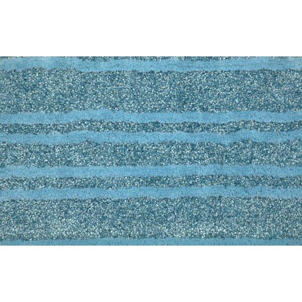 Seabrook Washable Rectangle Nylon Non-Slip Striped Bath Rug