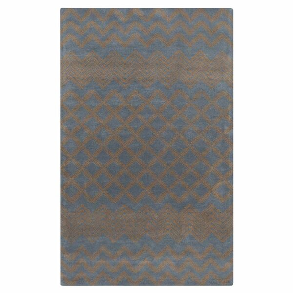 Halverson Hand-Tufted Mocha/Navy Area Rug by Wrought Studio
