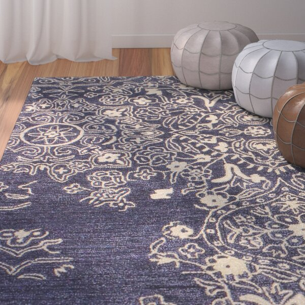 Flori Hand-Tufted Navy Area Rug by Bungalow Rose