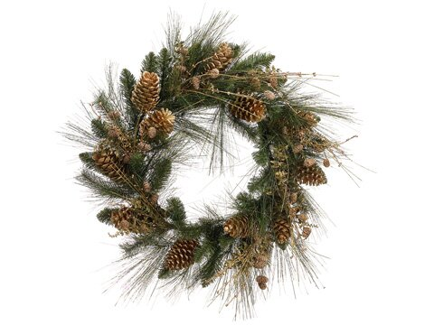 26 Artificial Glitter Pine Cone and Berry Christmas Wreath by Tori Home