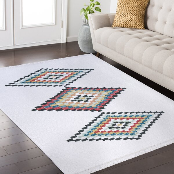 Rubie Hand-Woven White/Black Area Rug by Bungalow Rose