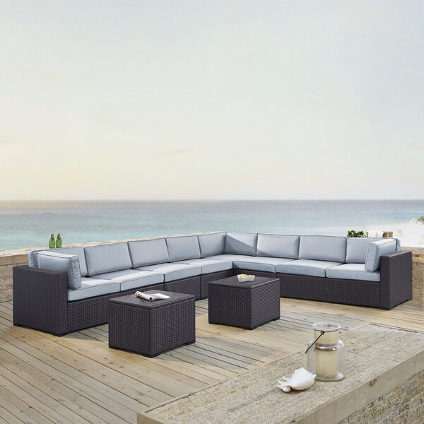Seaton 7 Piece Rattan Sectional Seating Group with Cushions