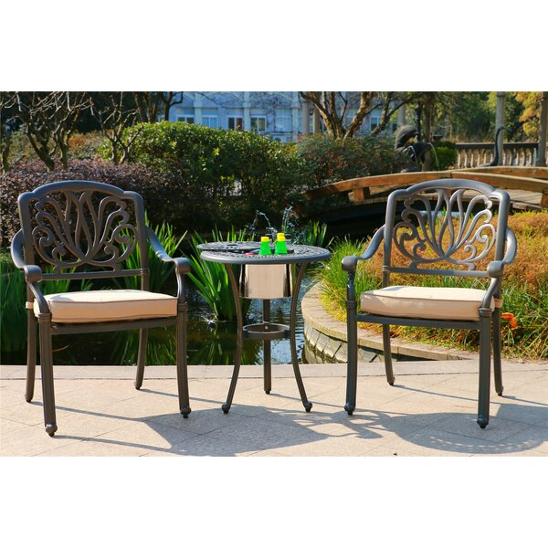 Nance Aluminum 3 Piece Sunbrella Bistro Set with Sunbrella Cushions by Bloomsbury Market