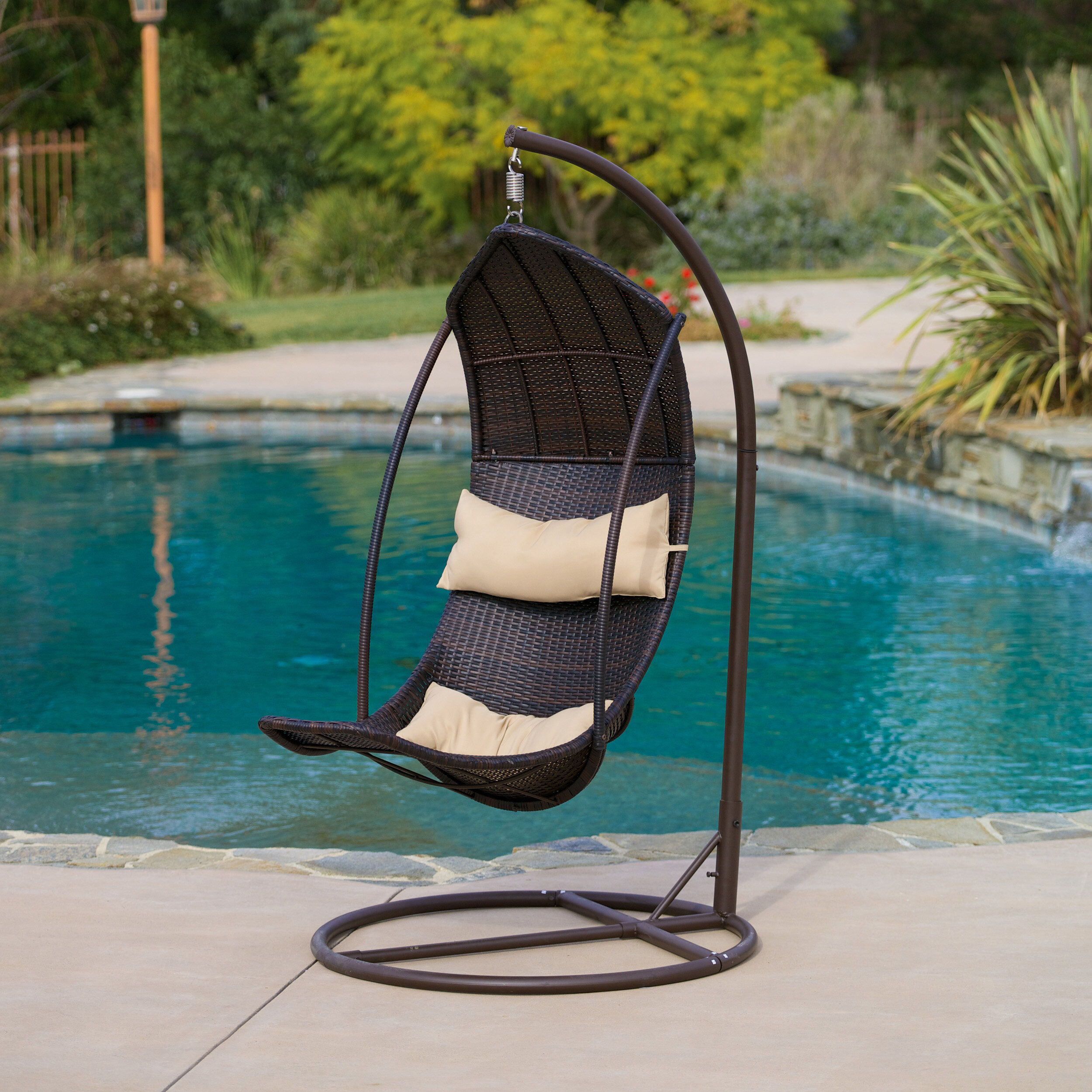 Home Loft Concepts Moorea Wicker Swing Chair With Stand U0026 Reviews | Wayfair