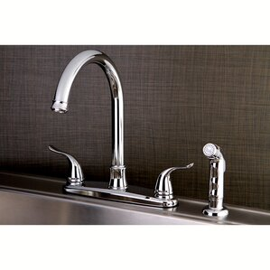 Kingston Brass Yosemite Centerset Double Handle Kitchen Faucet with Side Spray