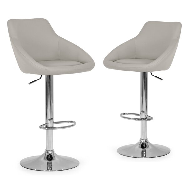 Alani Adjustable Height Swivel Bar Stool (Set of 2) by Glamour Home Decor