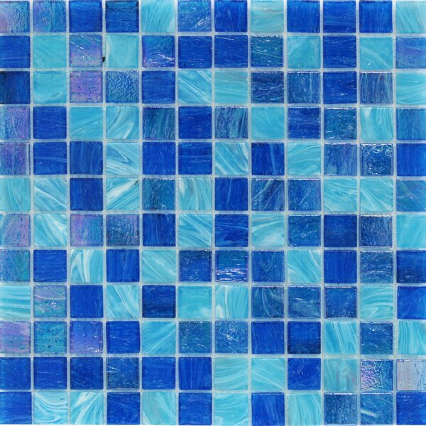 Aqua 1 x 1 Glass Mosaic Tile in Ocean Blue by Splashback Tile