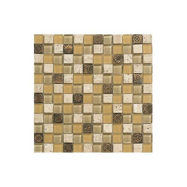 Basic 12 x 12 Glass Mosaic Tile in Orange/Gray by Kellani