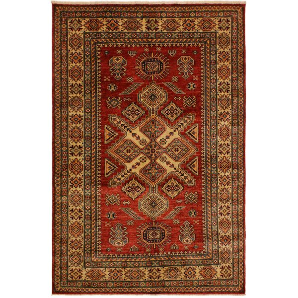 One-of-a-Kind Milo Super Kazak Hand-Knotted Wool Red/Ivory Area Rug by Astoria Grand