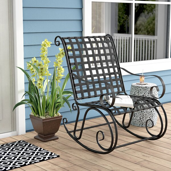 Saundra Iron Outdoor Patio Rocking Chair by Fleur De Lis Living