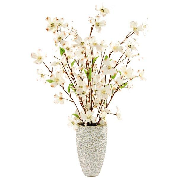 Dogwood Floral Arrangement in Decorative Vase by Lark Manor