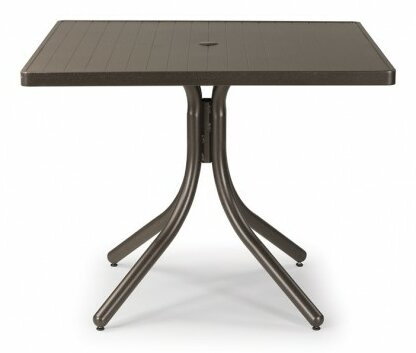 Aluminum Slat 36 Square Dining Table by Telescope Casual