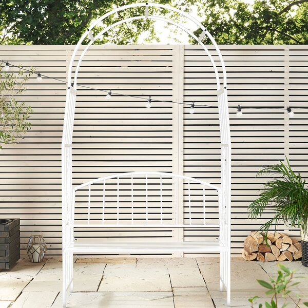 Trellis Arch Steel Arbor with Bench by VonHaus