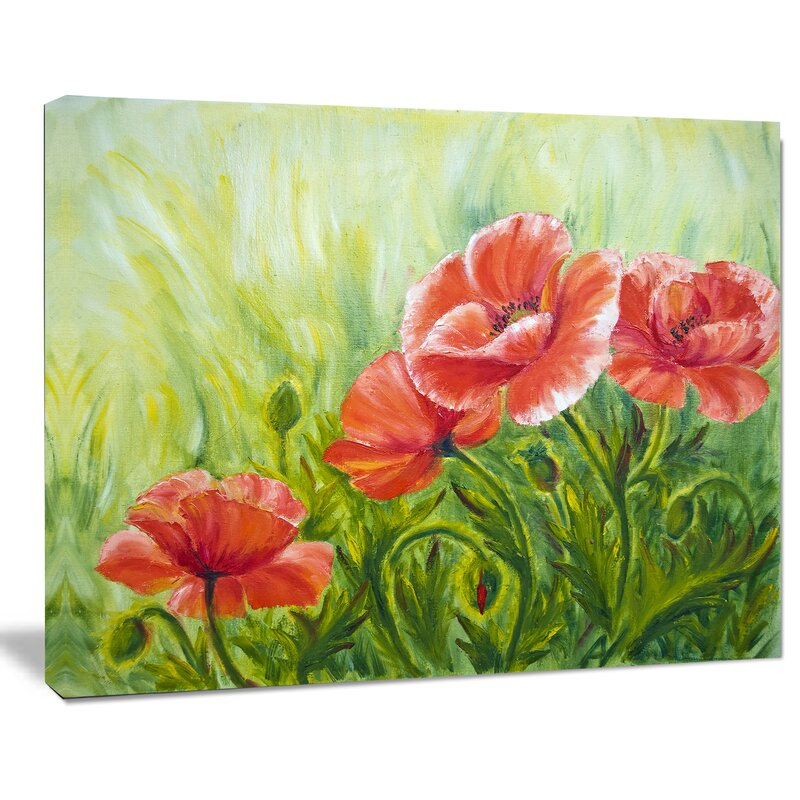 designart blooming poppies with green leaves large floral painting