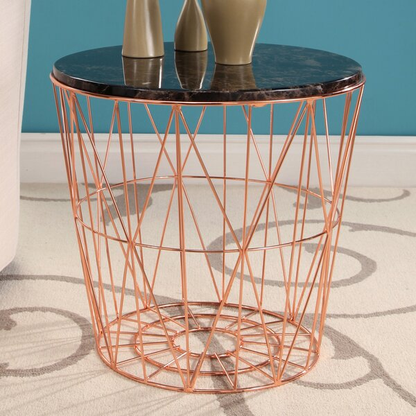 Browning Geometric Marble Stainless Steel End Table by Ivy Bronx