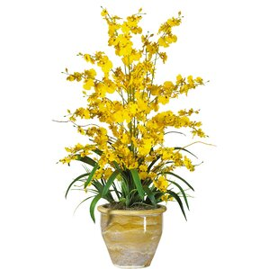 triple dancing lady silk orchid flowers in yellow - Silk Orchids