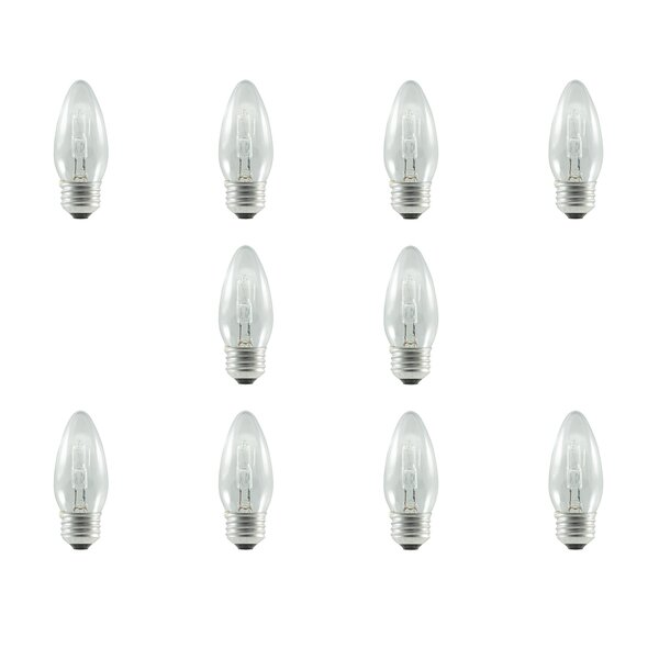 43W E26 Dimmable Halogen Candle Light Bulb (Set of 10) by Bulbrite Industries