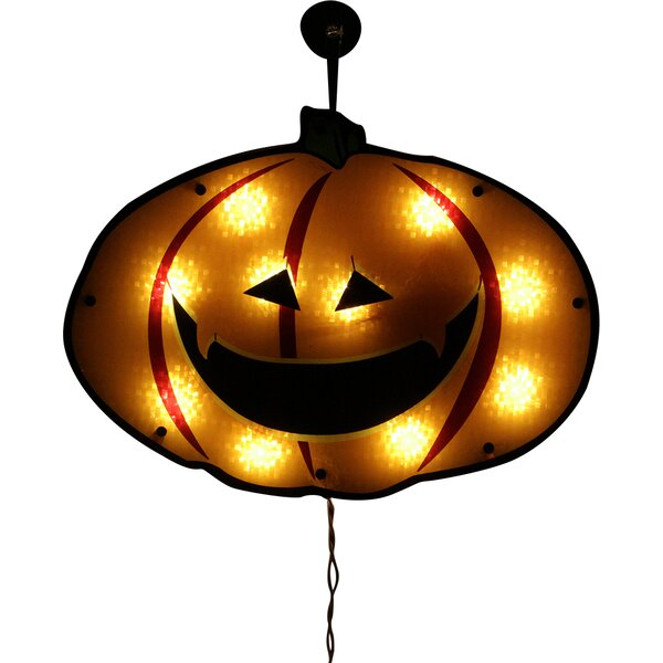 Lighted Jack-o-lantern Pumpkin Holographic Window Silhouette Decoration by Northlight Seasonal