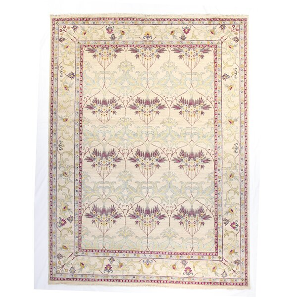 One-of-a-Kind Tamia Hand-Knotted 8 x 10 Wool Ivory Area Rug by Bungalow Rose