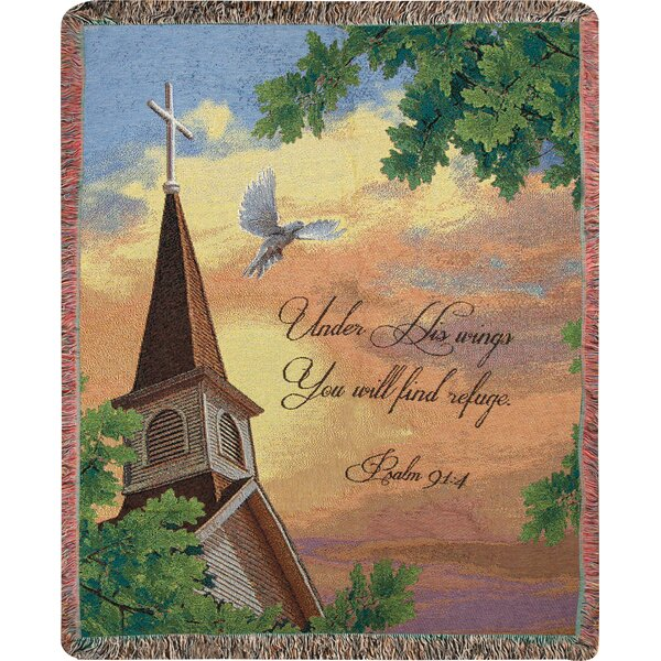 Under His Wings You Will Find Refuge Tapestry Cotton Throw by Manual Woodworkers & Weavers