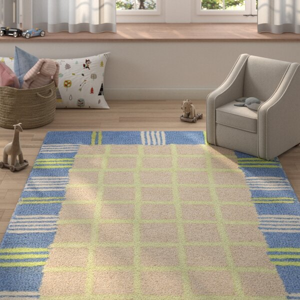 Claro Taupe & Blue Area Rug by Harriet Bee