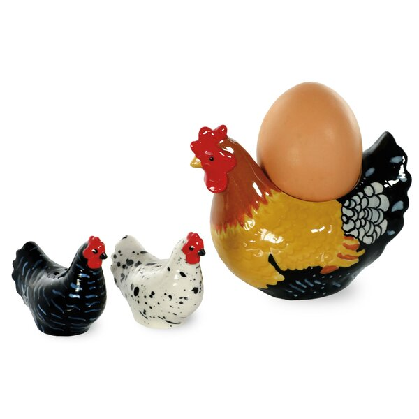 Spatter Hens 3 Piece Egg Cup, Salt and Pepper Set by Boston International