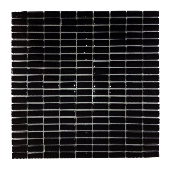 Epiphany 0.5 x 1.25 Glass Mosaic Tile in Black by Abolos