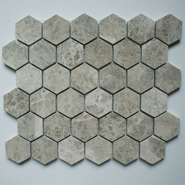 2 x 2 Marble Mosaic Tile in Silver Shadow by Ephesus Stones