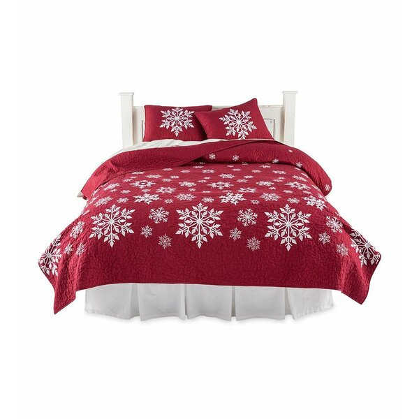 Falling Snow Embroidered Cotton 3 Piece Quilt Set