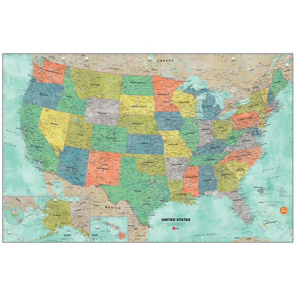 Aquarelle Map Wall Decal by WallPops!