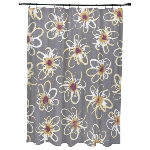 Cherry Penelope Floral Geometric Print Shower Curtain by Latitude Run