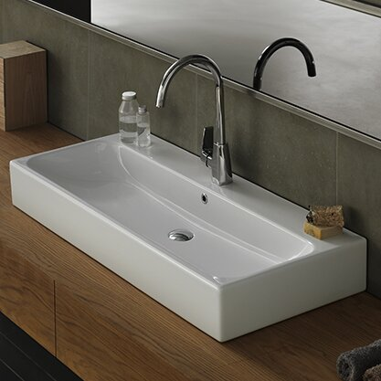 Pinto Ceramic Rectangular Vessel Bathroom Sink with Overflow by CeraStyle by Nameeks