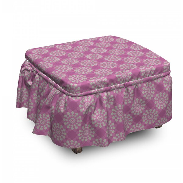 Geometrical Motifs Ottoman Slipcover (Set Of 2) By East Urban Home
