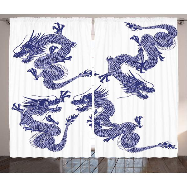 Soleil Dragon Graphic Print and Text Semi-Sheer Rod Pocket Curtain Panels (Set of 2) by World Menagerie