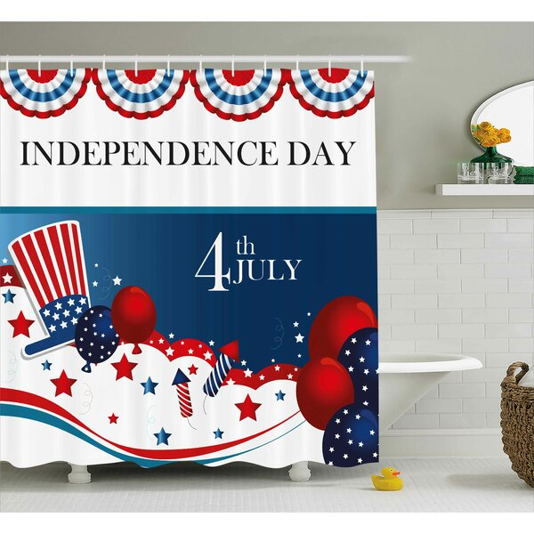 4th of July Trippy Dog With Hand Gestures American Day Historical Party Artful Graphic Shower Curtain by The Holiday Aisle